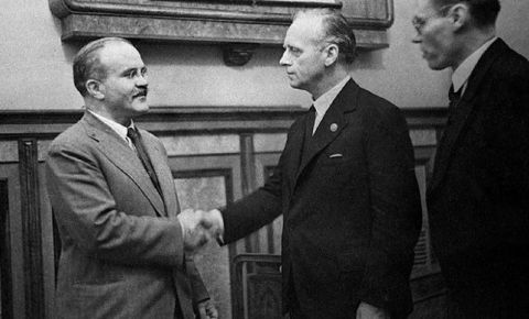 On August 23, 1939, Vyacheslav Molotov, acting on behalf of the Soviet Union, signed a Treaty of Non-Aggression with Germany