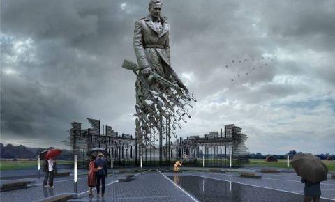 В  Тверской области начался завершающий этап монтажа центральной фигуры Ржевского мемориала Советскому солдату